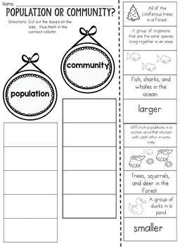 Ecosystems: Population or Community? Cut and Paste Sorting Activity