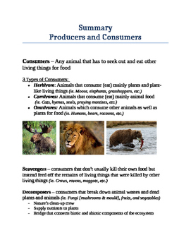 Ecosystems - Producers and Consumers