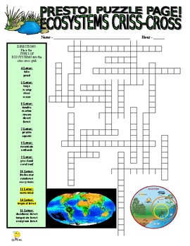 Ecosystems Puzzle Page (Wordsearch and Criss-Cross)