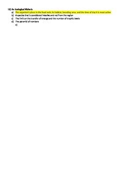 Ecosystems Quiz # 2 Version 1