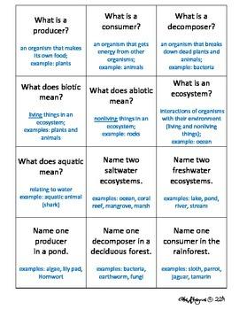 Ecosystems Quiz, Quiz, Trade Activity