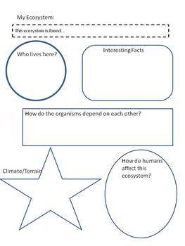 Ecosystems Research Guide graphic organizer