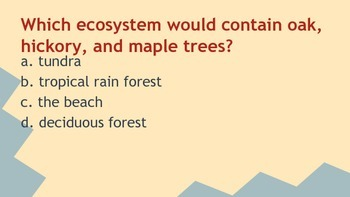 Ecosystems Review Questions based on NC Essential Standards for Science 5.L.2