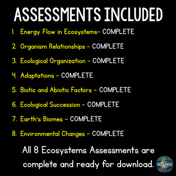 Ecosystems Science Assessments Bundle - Distance Learning Compatible