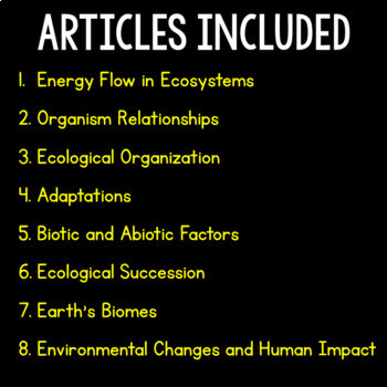 Ecosystems Science Literacy Bundle - Distance Learning Compatible Articles