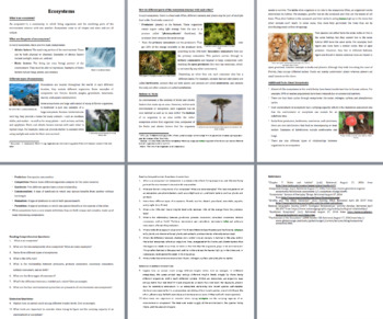 Ecosystems - Science Reading Article - Grade 8 and Up