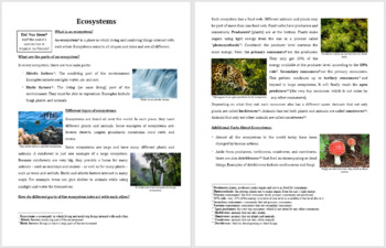 Ecosystems - Science Reading Article - Grades 5-7