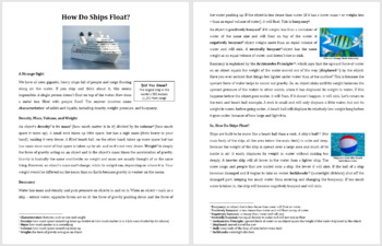 How Do Ships Float? - Science Reading Article - Grades 5-7