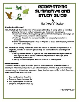 Ecosystems Summative and Study Guide:  Answer Keys Provided for both.