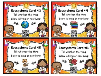 Ecosystems Task Cards With QR Codes & Bonus Vocabulary Cards