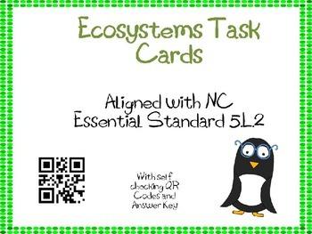 Ecosystems Task Cards 5th Grade Common Core 5.L.2 {QR Codes}