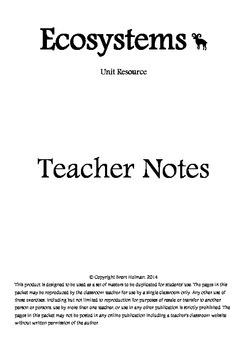 Ecosystems Teacher Notes