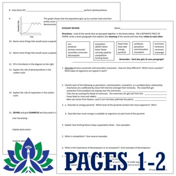 Ecosystems Ecology Review Worksheet (middle school) NGSS Aligned
