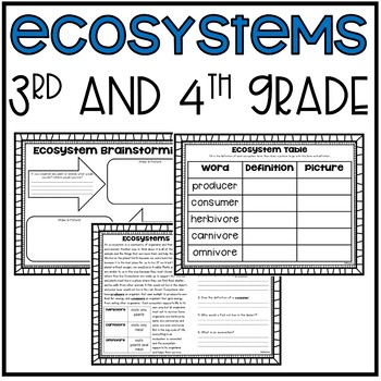 Ecosystems Unit (Science-3rd and 4th Grade)