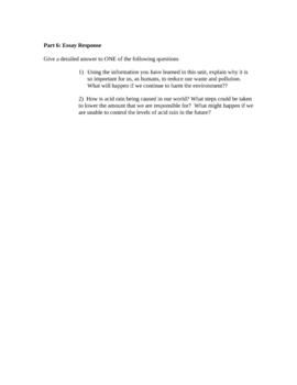 Ecosystems Unit Test