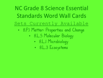 Ecosystems Visual Word Wall Cards (NC Grade 8 Essential Science Standard 8.L.3)