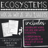 Ecosystems Vocab Words and Quizzes