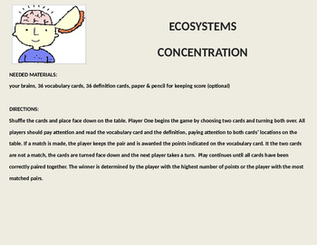 Ecosystems Vocabulary Concentration