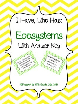 Ecosystems Vocabulary: I Have Who Has Game