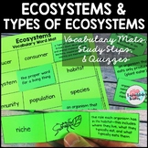 Ecosystems Vocabulary Mats, Study Slips, and Quizzes