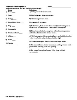Ecosystems Vocabulary Matching Quizzes