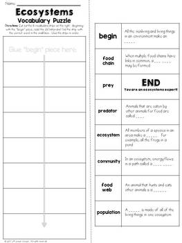 Ecosystems Vocabulary Puzzle