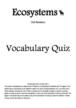 Ecosystems Vocabulary Quizzes