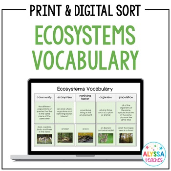 Ecosystems Vocabulary Sorting Cards