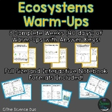 Ecosystems Warm-Ups (Bell Ringers) - Distance Learning Compatible