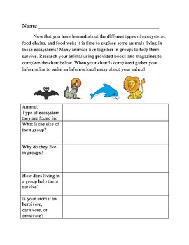Ecosystems and Animals in Groups- Research/Informational Essay Organizer