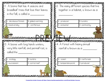 Ecosystems and Biomes Academic Vocabulary Workbook, Task Cards and Assessments