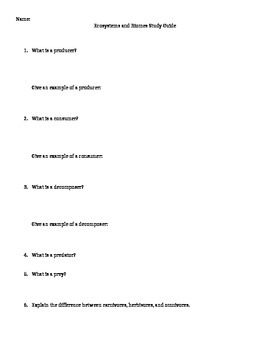 Ecosystems and Biomes Study Guide