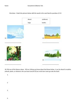 Ecosystems and Biomes Test