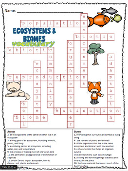 Ecosystems and Biomes Vocabulary Crossword Puzzle Activity