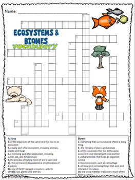 ecosystems and biomes vocabulary crossword puzzle activity tpt. Black Bedroom Furniture Sets. Home Design Ideas