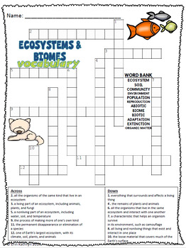 Ecosystems and Biomes Vocabulary Crossword Puzzle Activity ...