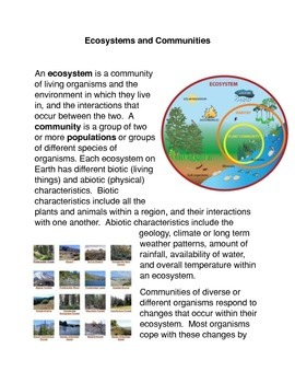 Ecosystems and Communities Common Core Activity
