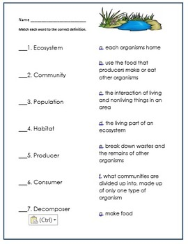 Ecosystems vocabulary and type matching definitions Pack