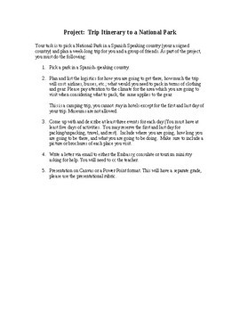 Realidades 3, Chapter 1. Ecotourism Camping Trip Project with Rubric