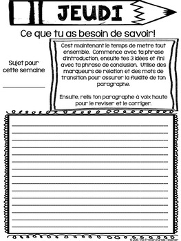 Écrire chaque jour : Le paragraphe de la semaine