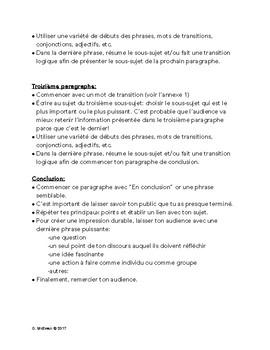 Écrire un discours/Speech writing: Instructions for students