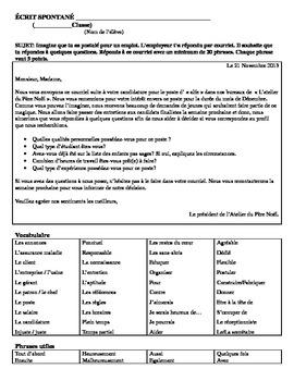 Ecrit Spontané (email) pour un poste dans l'atelier du père Noël