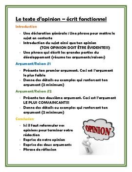 French Opinion/Position Paper - Écrit fonctionnel (Le texte d'opinion)