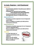 French Opinion/Position Paper - Écrit fonctionnel (Le text