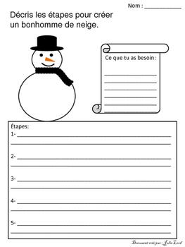 Écriture - bonhomme de neige