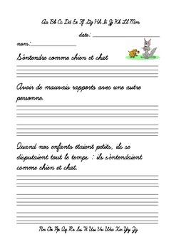 Écriture cursive - S'entendre comme chien et chat