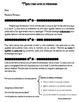 Écriture - lettre de présentation + CV