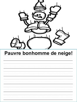 Écriture sans préparation (French Writing prompts) L'Hiver  French Winter Theme