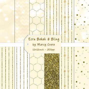 Ecru Bokeh & Gold Glitter Digital Papers