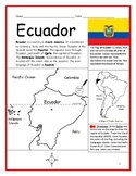 ECUADOR Printable handouts with map and flag to color